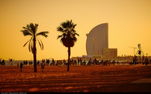 View of la Barceloneta's Beach from Bogatell at sunset, picture by Moyan Brenn on Flickr